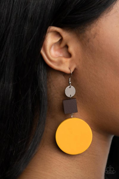 Modern Materials - Square brown wood with a large Yellow Wood Disc Earrings