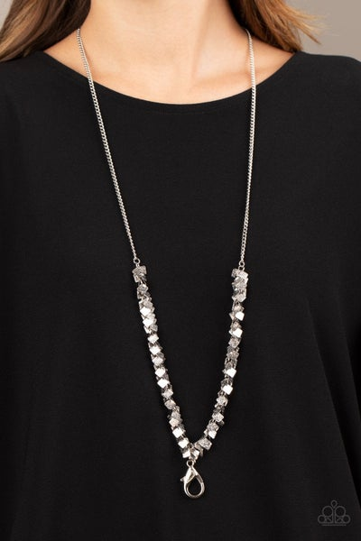 Be Heard - Silver Clusters on a Silver Chain Lanyard Necklace