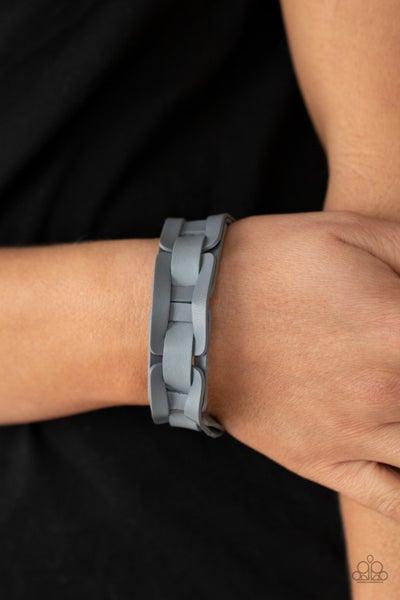 Garage Band Grunge - Silver Leather links Snap Bracelet