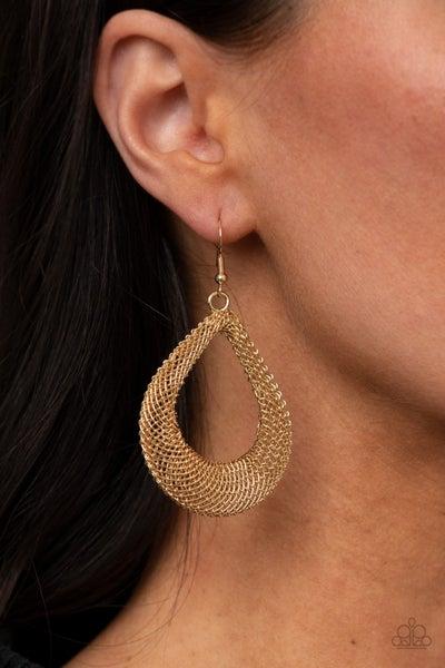 Pre-Sale A Hot MESH - Gold Chain Teardrop Earrings