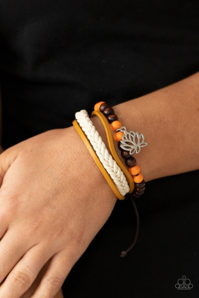 Pre-Sale Lotus Beach - Orange & Brown wooden beads with a silver Lotus Flower slide knot/pull-tight Bracelet