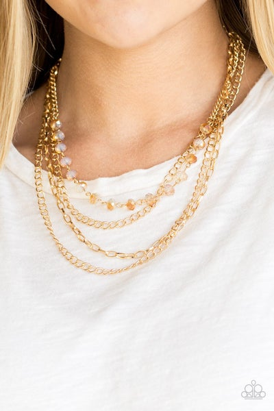 Extravagant Elegance - Layers of Gold chains with Gold Crystals Necklace & Earrings