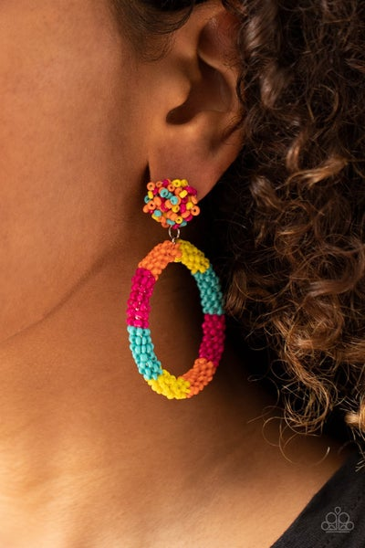 Be All You Can BEAD - Multi-colored Seed Bead Hoop Earrings