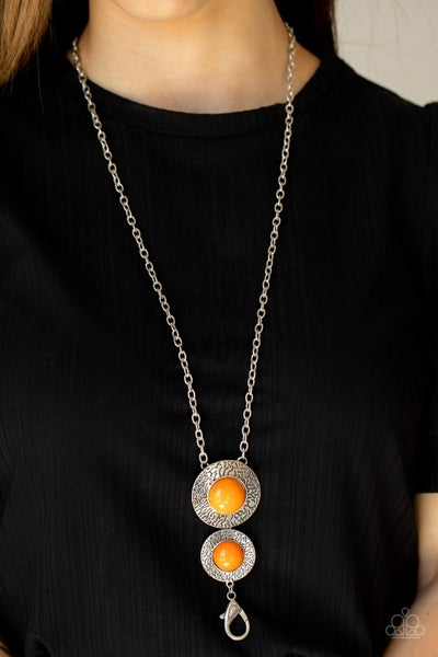 Abstract Artistry - Orange Beads on a Silver chain Lanyard Necklace & Earrings