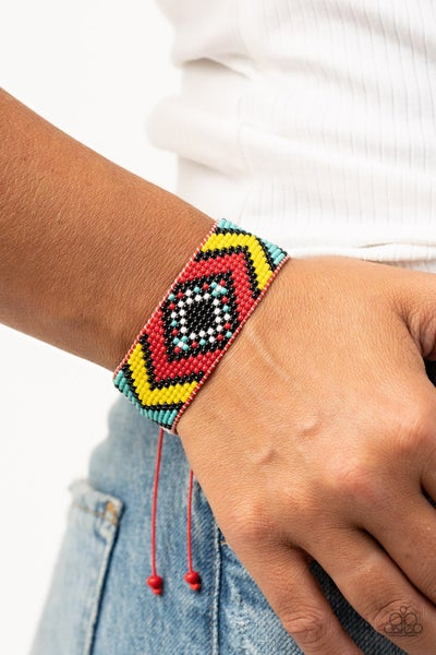 Desert Dive - Red Seed Bead with black, yellow & turquoise seed beads in a Red Cordage slip knot/pull tight bracelet