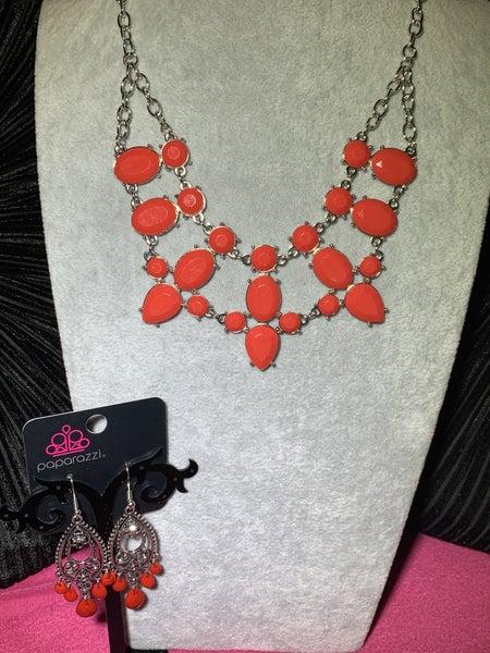 Goddess Glow & Fashion Flirt - Silver with Red Teardrop Beads Set