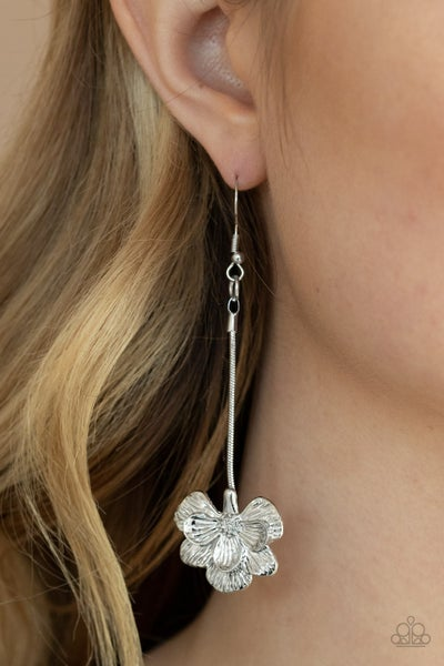 Opulently Orchid - Silver OrchidFlower drop Earrings