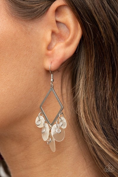 Pomp And Circumstance - Silver with Rhinestones and Iridescent White shells chandelier Earrings