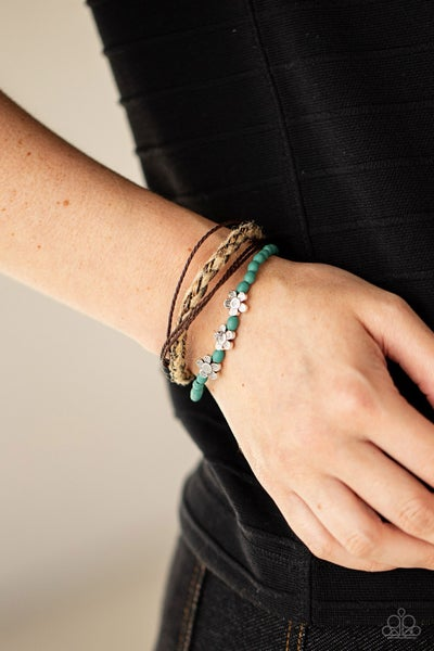 Raffia Remix - Turquoise with Silver Etched Flowers, strands of Wooden Beads and Braided Twine Slip Knot/Pull-Tight Bracelet