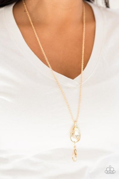 Elite Shine - Gold Teardrop Lanyard Necklace