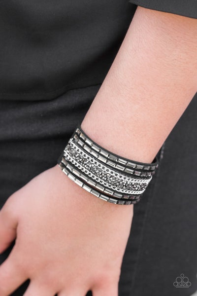 Pre-Sale Less Bitter, More Glitter! - Black Suede with Black & Hematite Stones Snap Bracelet