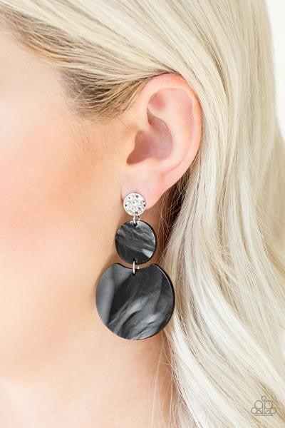 Miami Mariner Black Shell Paparazzi Earring