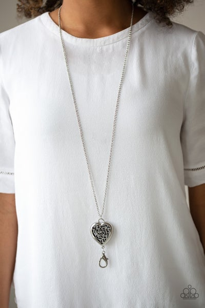 For The Love - Silver Filigree Heart Lanyard