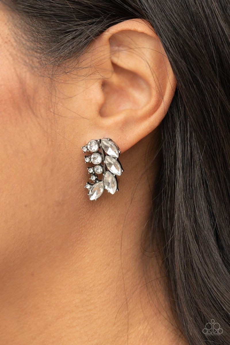 Flawless Fronds - White Rhinstones Curved Earrings