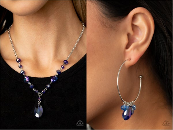 Fashionista Week & Dazzling Downpour - Iridescent Blue Necklace, Earrings & (upgraded) Earrings 2 piece Set