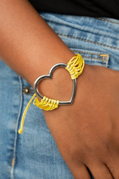 Pre-Sale - Playing With My HEARTSTRINGS - Silver Heart with Yellow Cordage Pull-Tight Bracelet