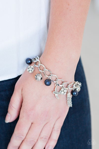 """Lady Love Dove - Silver with Blue Pearls, White Rhinestones, Silver """"Love Dove"""" & Tassel Charms Bracelet"""