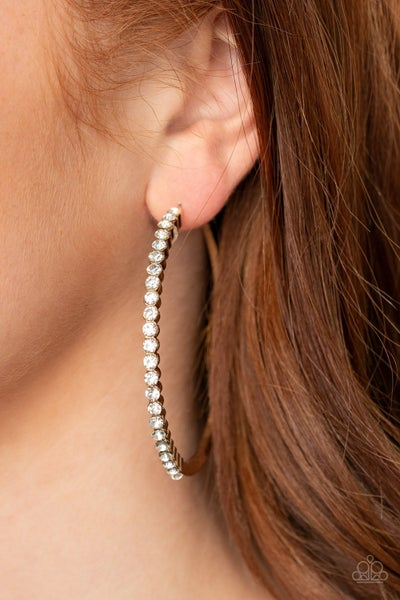 Making Rounds - Gold with White Rhinestones Hoop Earrings