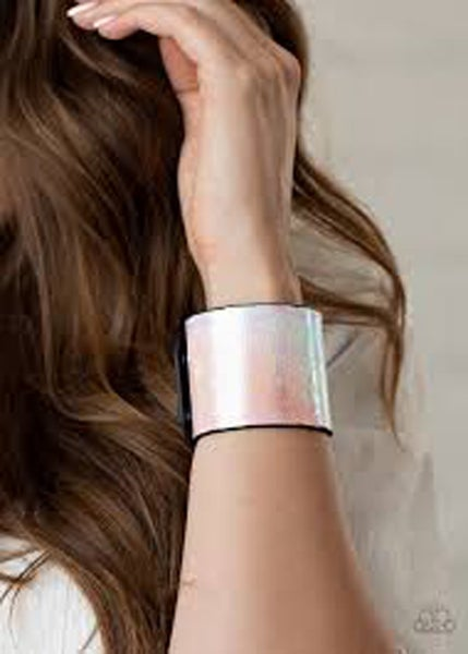 Holographic Jungle - Iridescent Pastel Rainbow Leather Snap Bracelet
