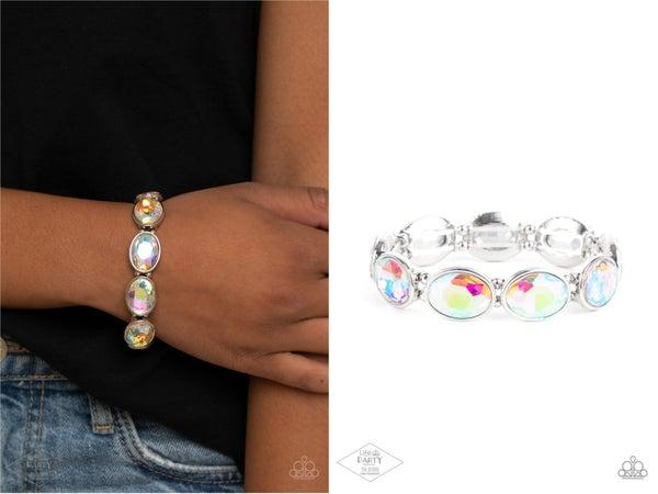 Diva In Disguise - Multi - Iridescent Oval Gems Stretch Bracelet