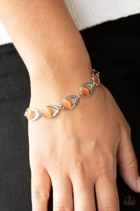 Modern Mystic - Silver with Orange Cat's Eye Moonstone Bracelet