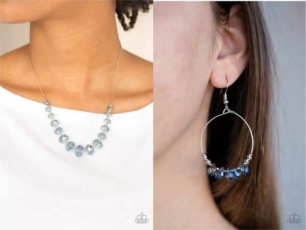 Crystal Carriages & Holographic Hoops - Iridescent Crystal Beads Necklace & Earring Set