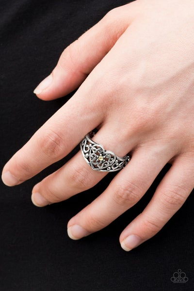 Dearly Beloved - Silver vintage filigree Heart with a Yellow Rhinestone Center Ring