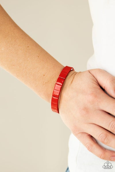 Pre-Order Material Movement - Red Rectangle Stretch Bracelet