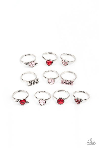 Pre-Sale - Assorted Kid's Rings with Hearts and the word Kiss Kid's adjustable Rings