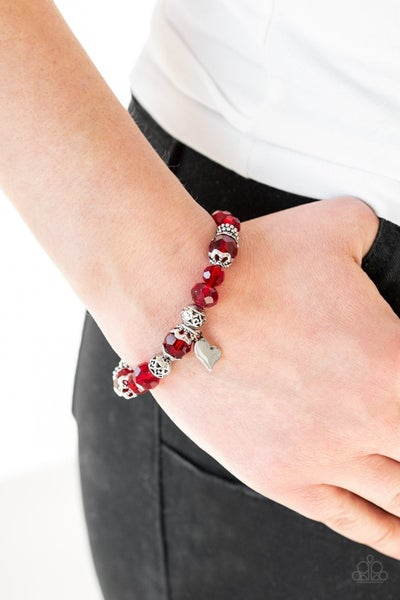 Right on Romance - Silver with Red Crystals & Silver Heart Charm Stretch Bracelet
