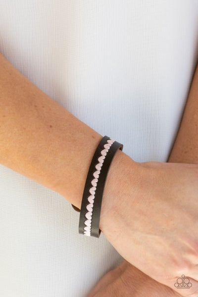 Pre-Sale Made With Love - Brown Leather with Pink Heart stitching Snap Bracelet