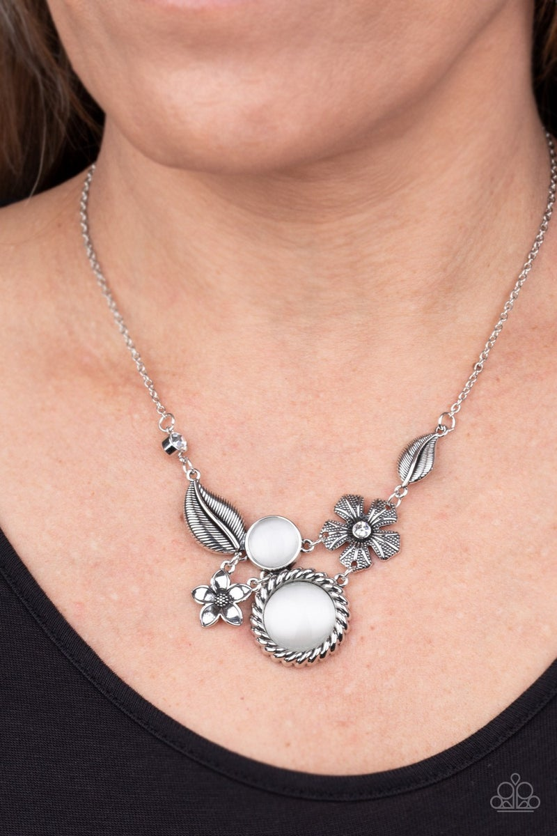 Exquisitely Eden - Silver floral frame with White Moonstone gems Necklace & Earrings