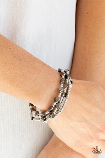Fashionably Faceted - Multi Silver & Gunmetal Coil Bracelet