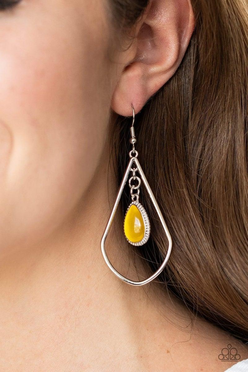 Ethereal Elegance - Silver Teadrop fram with Yellow Moonstone Gem Earrings