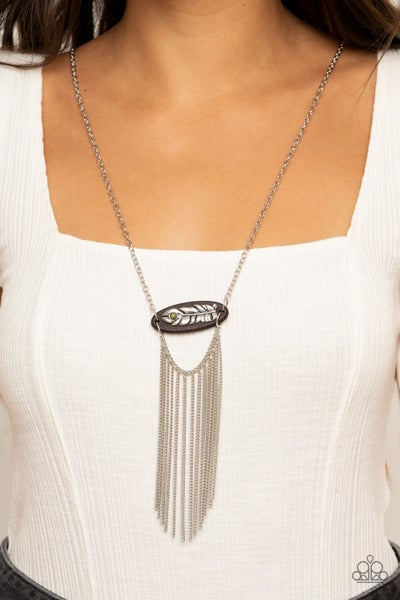 Pre-Sale - Desert Spirit - Silver Chain Tassels, Wood Frame & Silver Feather with a Green Crackle Stone Necklace & Earrings