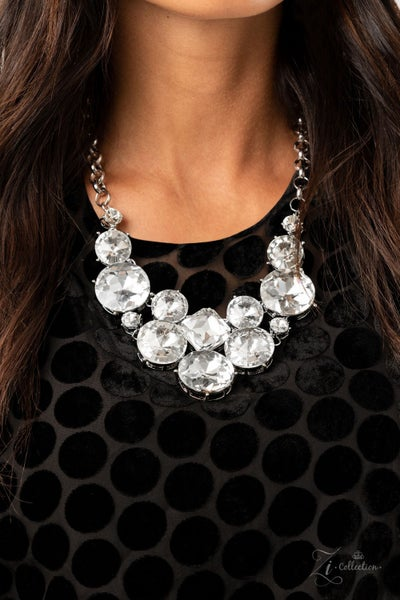 Unpredictable - Silver with Varied Sizes of Rhinestones Necklace - 2020 Zi Collection