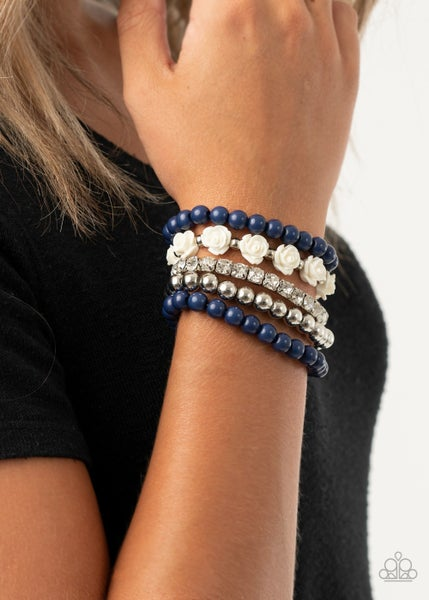 Pre-Sale - Rose Garden Grandeur - A Mixture of 5 Silver & Blue Beads & Roses Stretchy Bracelets