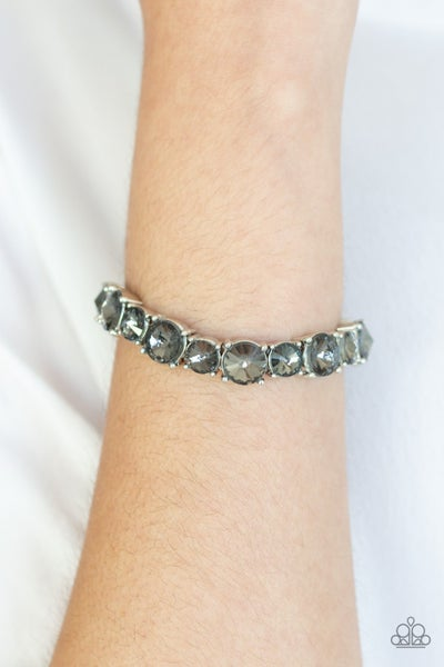 Born To Bedazzle - Silver with Smoky Silver Rhinestones Stretchy Bracelet