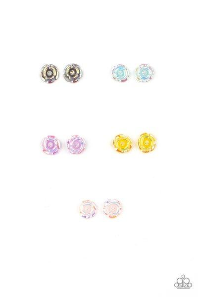 Iridescent Rose Stud Kid's Earrings