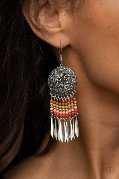 Sun Warrior - Silver with Multi-Color Beaded Tassel Earrings