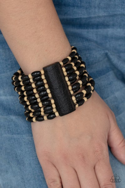 Pre-Sale Cayman Carnival - Black and Brown Wood Stretch Bracelet