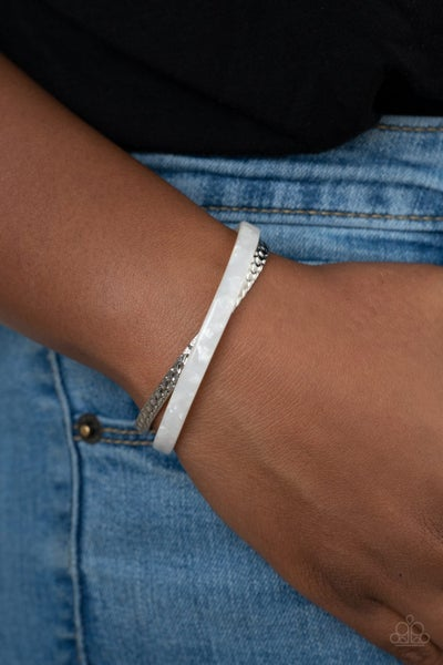 Pre-Sale - HAUTE On The Trail - Silver with White Acrylic Curled over Cuff Bracelet