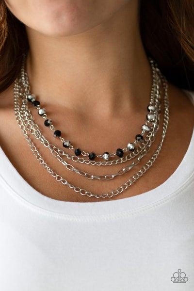 Extravagant Elegance - Multi Silver & Iridescent Black Beaded, Multiple Strands Necklace & Earrings