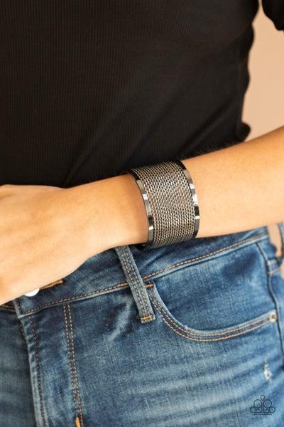 Stacked Sensation - Gunmetal wire mesh Cuff Bracelet