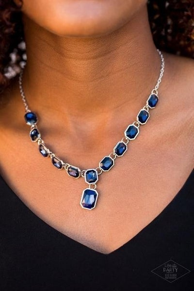 The Right To Remain Sparkly - Silver with Emerald Cut Blue Rhinestones Necklace