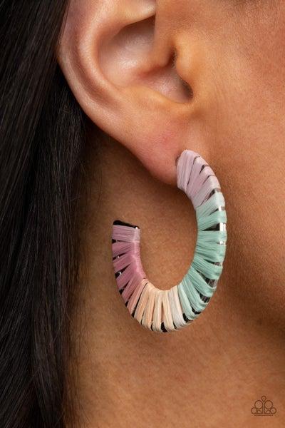 A Chance of RAINBOWS - Multi-rainbow colored wicker Hoop Earrings