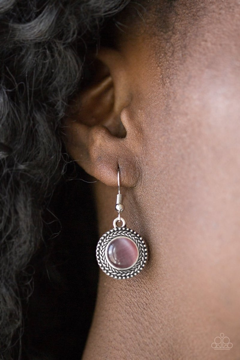 Time to  Glow Up - Silver with Round Purple Moonstone Earrings
