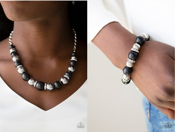 The Ruling Class & Ruling Class Radiance - Black & Silver Beads with Rhinestones Necklace, Earrings & Bracelet Set