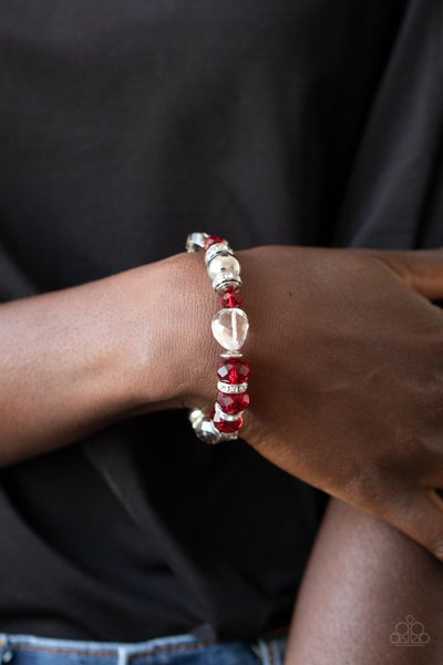 Pre-Sale - Treat Yourself - Silver with Glassy Red & White Rhinestones Stretchy Bracelet