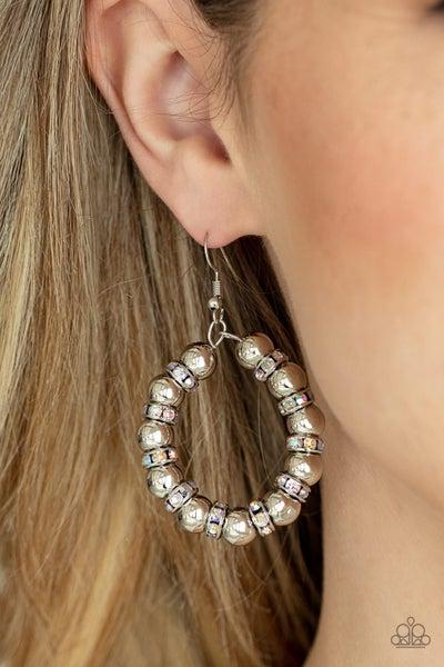 Pre-Order Cosmic Halo - Multi - Silver & Iridescent Beaded Hoop Earrings